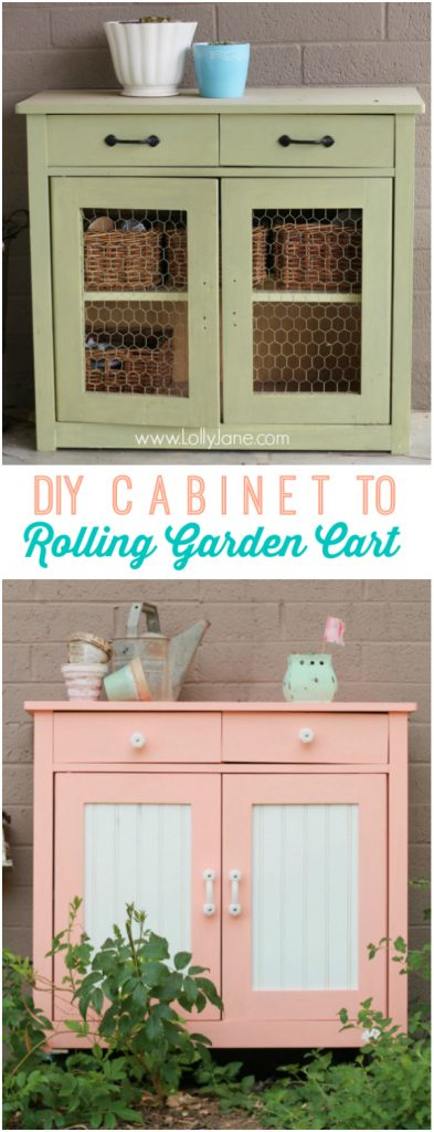 Quick DIY cabinet to rolling garden cart. Love the coral color!