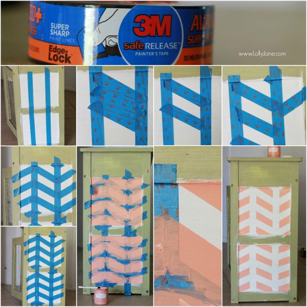 How to make a herringbone pattern from tape   easy tutorial via lollyjane.com