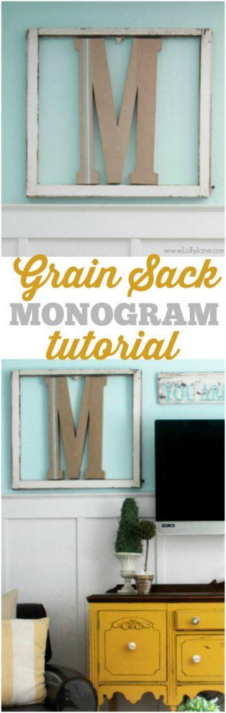 DIY grain sack monogram | tutorial via lollyjane.com