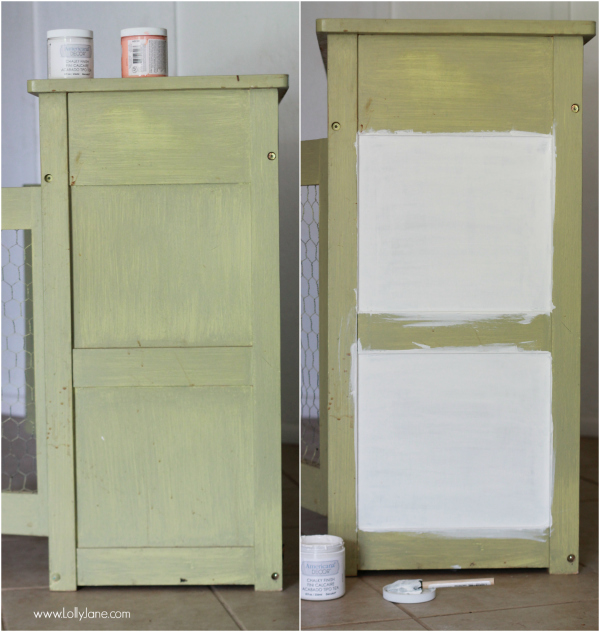 Painted green cabinet, check out the after on lollyjane.com