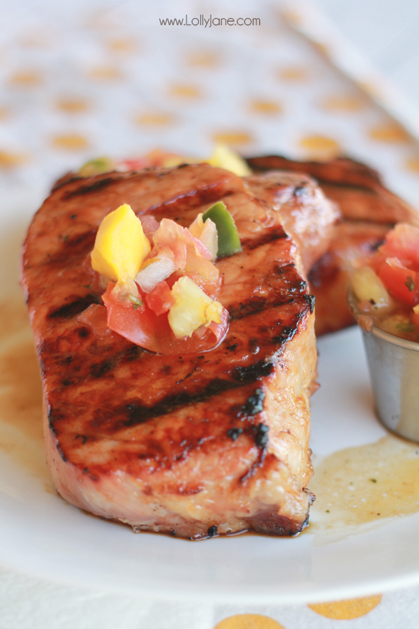 Grilled Pork Chops with Pineapple-Mango Salsa (and brown sugar glaze.) YUM! | lollyjane.com
