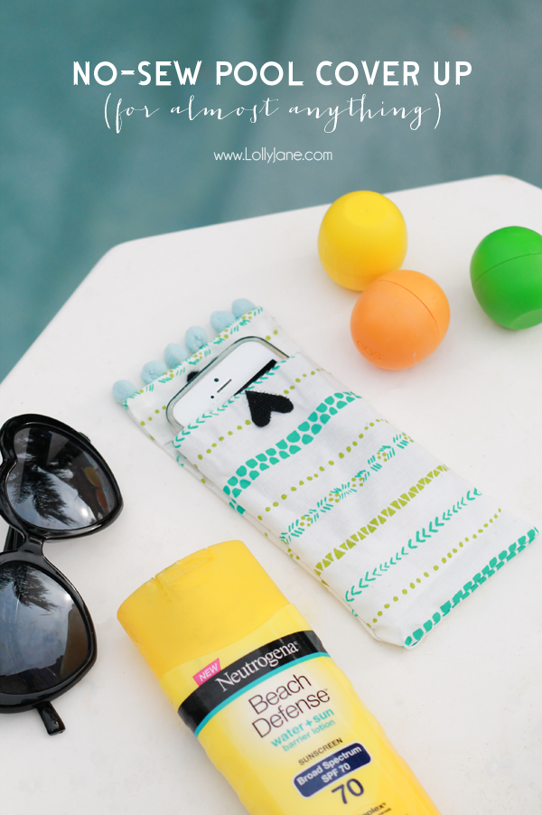No-sew Pool Cover-Ups (use for almost anything... magazines, books, tablet, phone or whatever you don't want to get splashed!) #savorsummer