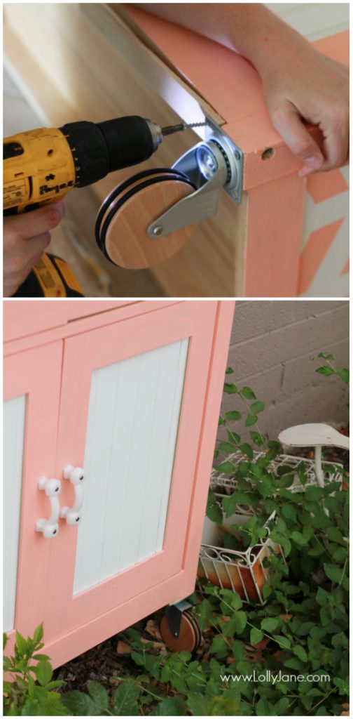 Install pretty casters to any piece of furniture!