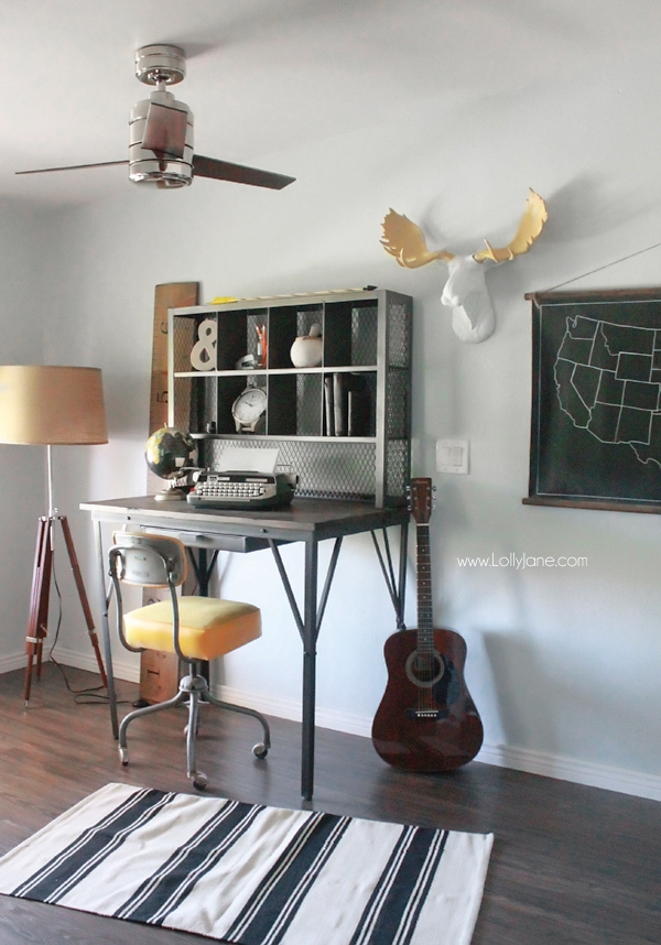 Industrial Man Cave Home Office. Love The Modern Ceiling Fan And That Desk!  Awesome