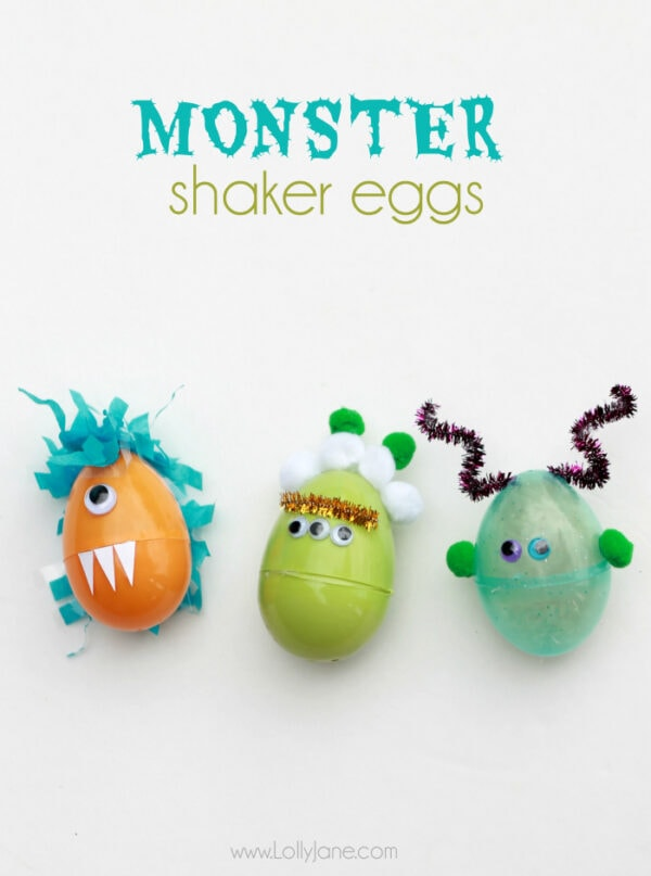 DIY Monster Shaker Eggs. Just fill with beans or rice and decorate, perfect for toddler play! via lollyjane.com