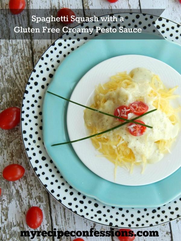 YUMMY spaghetti squash with creamy pesto sauce! | lollyjane.com