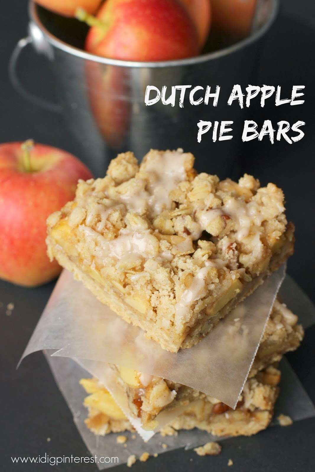 These delectable Dutch Apple Pie Bars with a tasty crumb topping and cinnamon sweet glaze are sure to have you yearning for fall and the cooler weather! #falldessert #fallrecipe #dutchapplepiebars #applepie #applebars #dutchapplerecipe #dutchappledessert