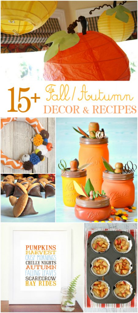 So many easy fall crafts to try and easy to make fall recipes so we've gathered our favorite 15 fall ideas and recipes to make this season! #falldecor #fallcraft #fallideas #falldecorations #fallrecipes #fallrecipe #fallroundup
