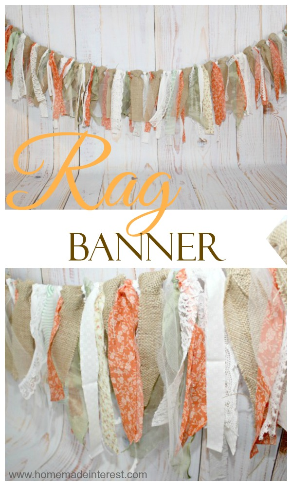 This Rustic Fall Rag Banner is such an easy project and it makes such a statement as a decoration. It's simple to make and is easy to customize. Try using one for the next birthday party, bridal shower, or baby shower you host! #rusticdecor #falldecor #fallbanner #fallragbanner #fallbunting #fallragbunting #falldecor #falldecorations #diyfalldecor