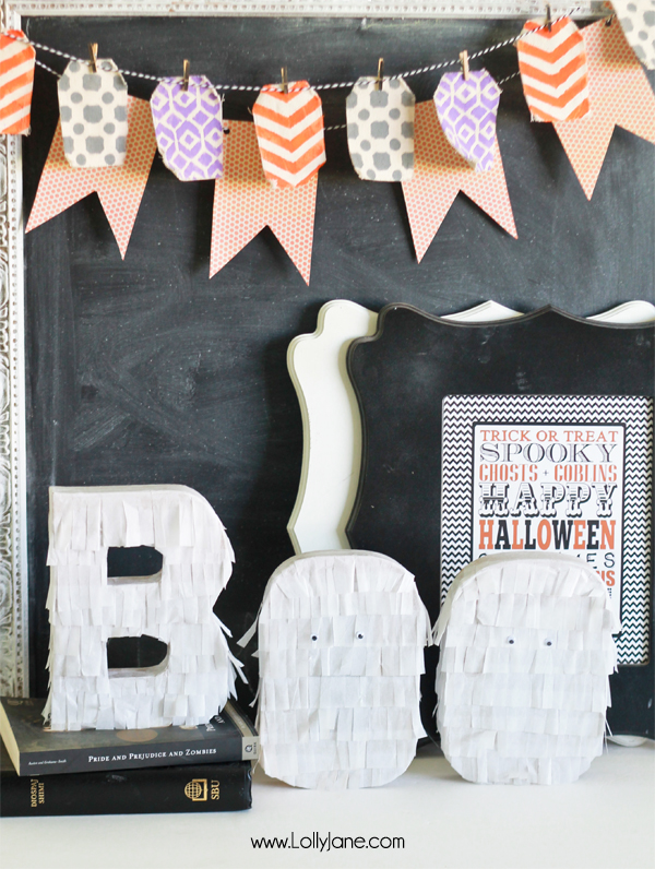 Easy Halloween decor DIY! Fringe BOO letters tutorial | via lollyjane.com