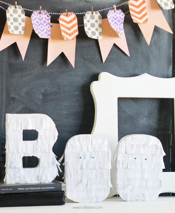 Halloween fringe BOO letters tutorial | via lollyjane.com