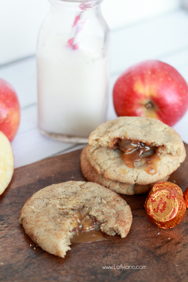 Caramel Apple Snickerdoodles. The taste of fall stuffed in a chewy snickerdoodle cookie, YUM!  lollyjane.com