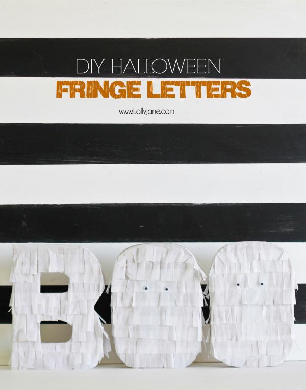 Easy Halloween decor DIY! Fringe BOO letters tutorial | via lollyjane.com