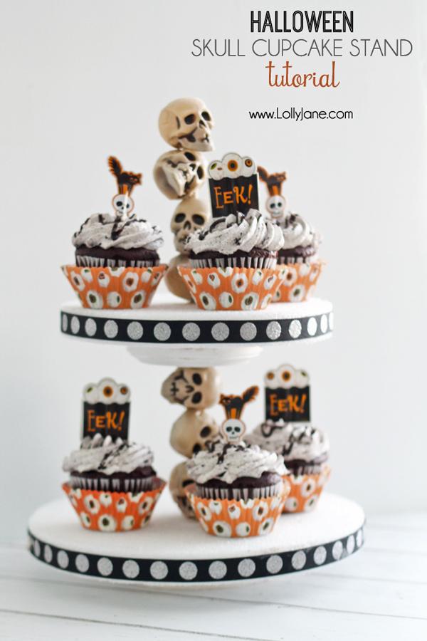 Super cute DIY Halloween skull cupcake stand |lollyjane.com