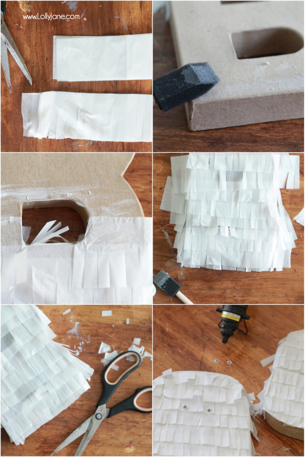DIY Halloween fringe letters | via lollyjane.com
