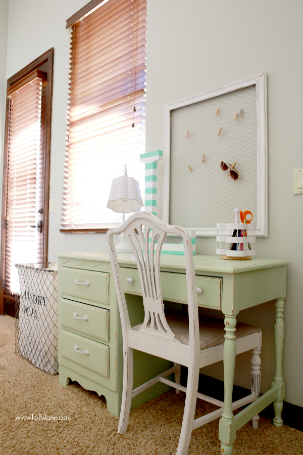 Chippy mint desk | lollyjane.com