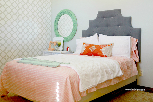 Pretty gray/white/mint bedroom makeover | lollyjane.com