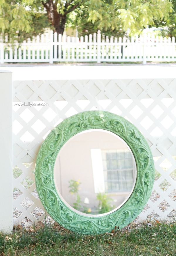 Spray Painted Mint Mirror | lollyjane.com