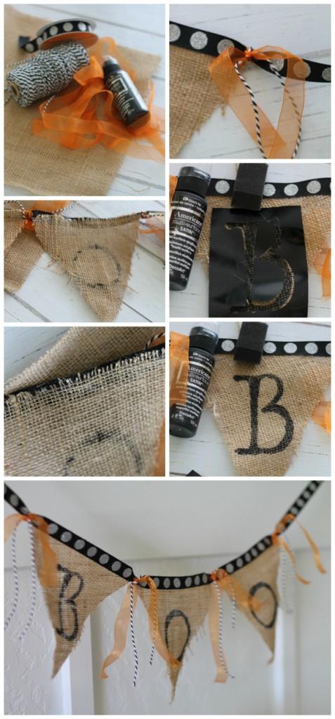 How to make an easy BOO Halloween burlap bunting. Fun Halloween decor!