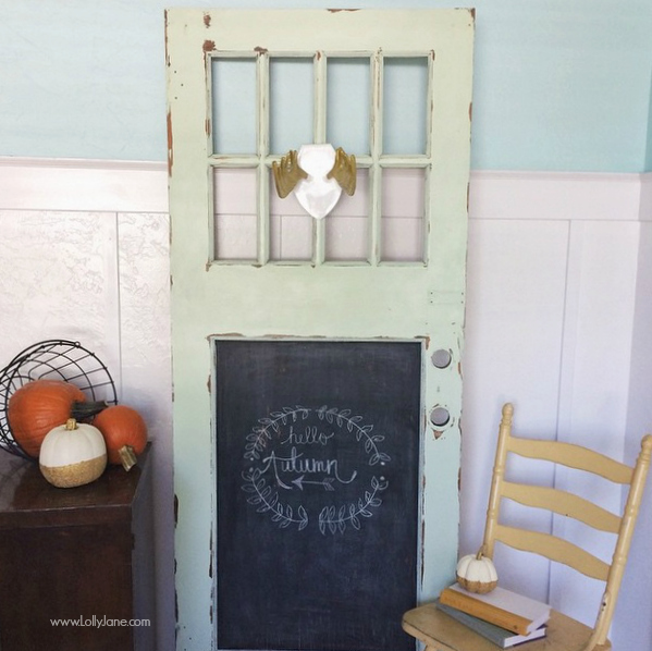 Cute mint chippy door makeover! lollyjane.com
