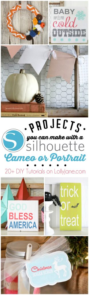 Over 20 projects to see what you can make with your Silhouette CAMEO or Portrait! |via LollyJane.com