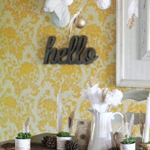 Easy fall tablescape ideas + DIY gold dipped feather tutorial |www.lollyjane.com