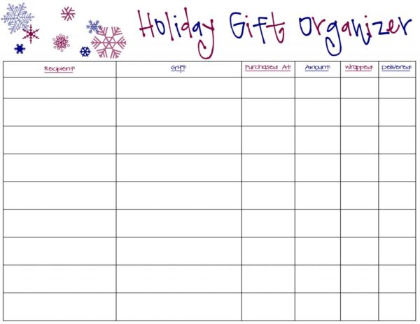 Holiday Gift Organizer FREE printable |via TheOrganizedMama.com