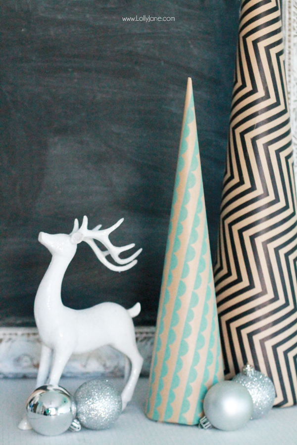 These DIY Paper Wrapped Holiday Trees are the cutest! |via lollyjane.com