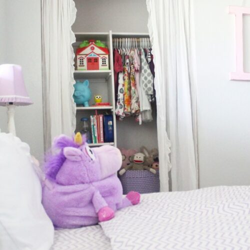 Pretty scallop trim closet tutorial   Adorable little girls bedroom ideas.