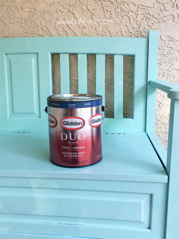 Gorgeous teal bench. Love the color by Glidden!