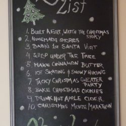 Holiday bucket list chalkboard art