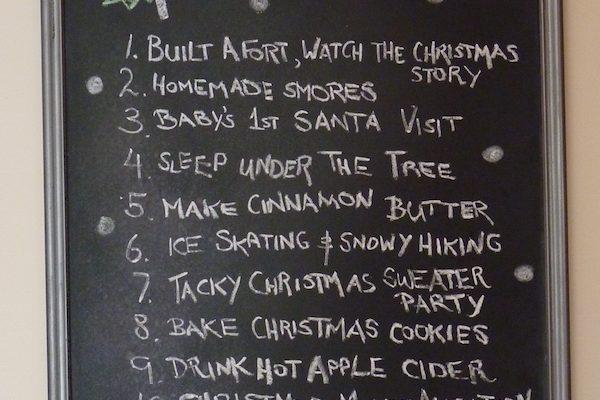 DIY Holiday Bucket List Chalkboard Art
