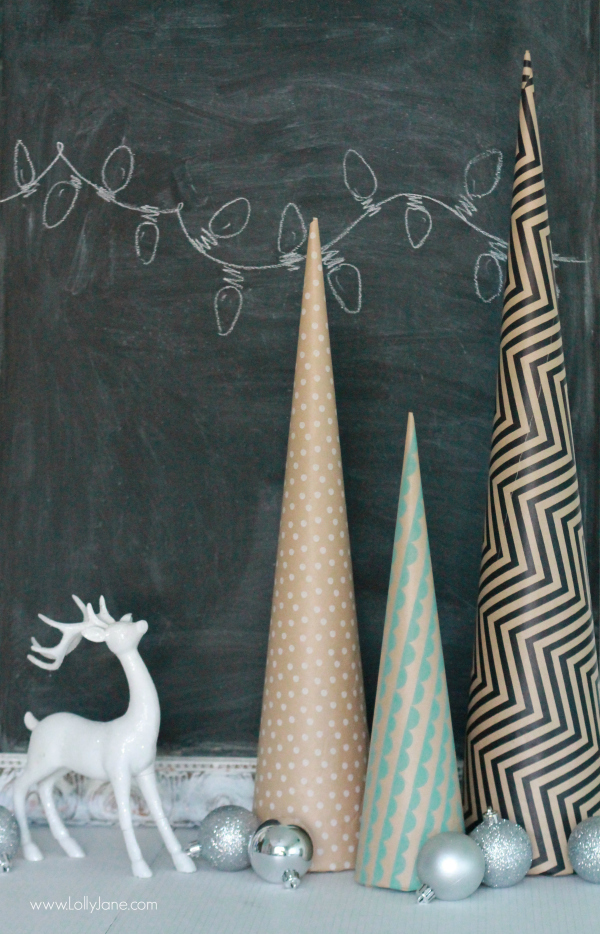 Fun Christmas decor: paper wrapped foam cones! Cute paper Christmas trees, cover in any pattern you prefer to spruce up your holiday decor!