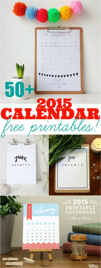 Over 50+ AWESOME 2015 free printable calendars!! You're sure to find your style in this amazing ultimate roundup!