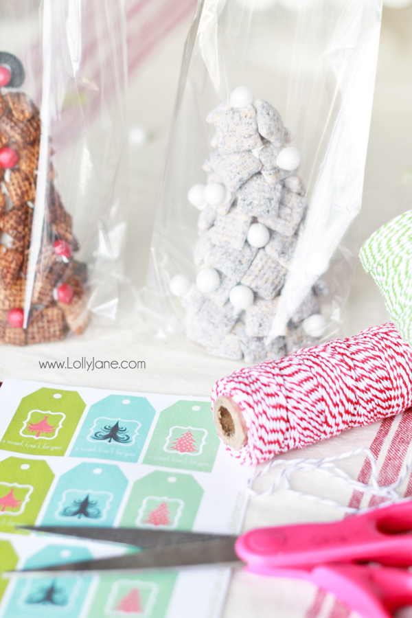 Chex Mix Trees, perfect for holiday parties + a FREE treat tag!