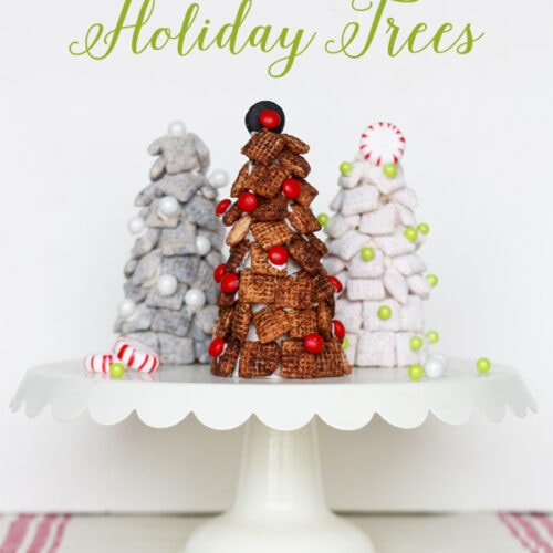 Chex Mix Trees, perfect for holiday parties!