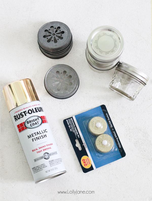 Supplies to make DIY Ball Mason Jar Ornaments