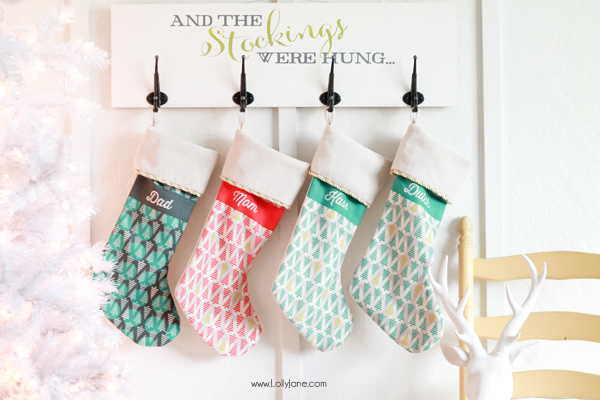 DIY Christmas Stocking Board, perfect for fireplace mantle-less spaces!