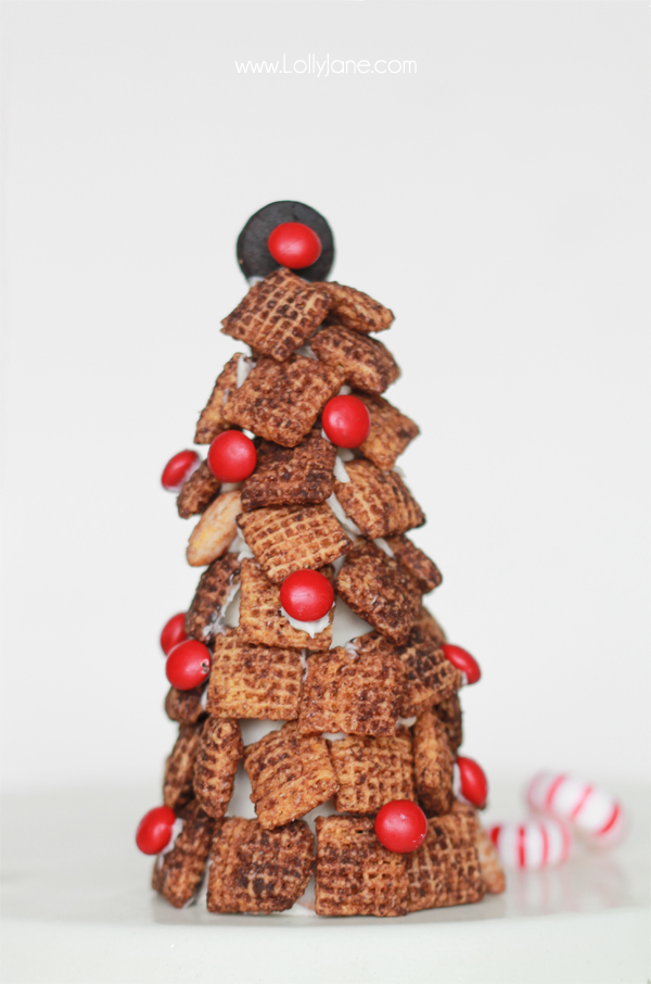 Dark Chocolate Chex Mix Holiday Trees, perfect for entertaining!