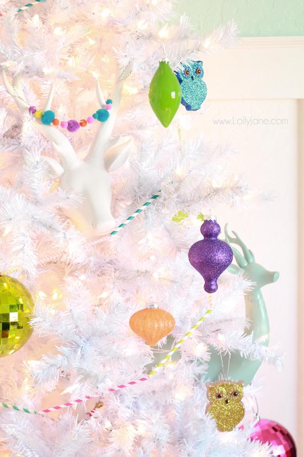 Easy white Christmas tree decor