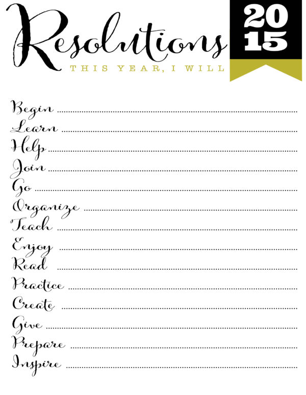 FREE Printable New Year Resolution Helps