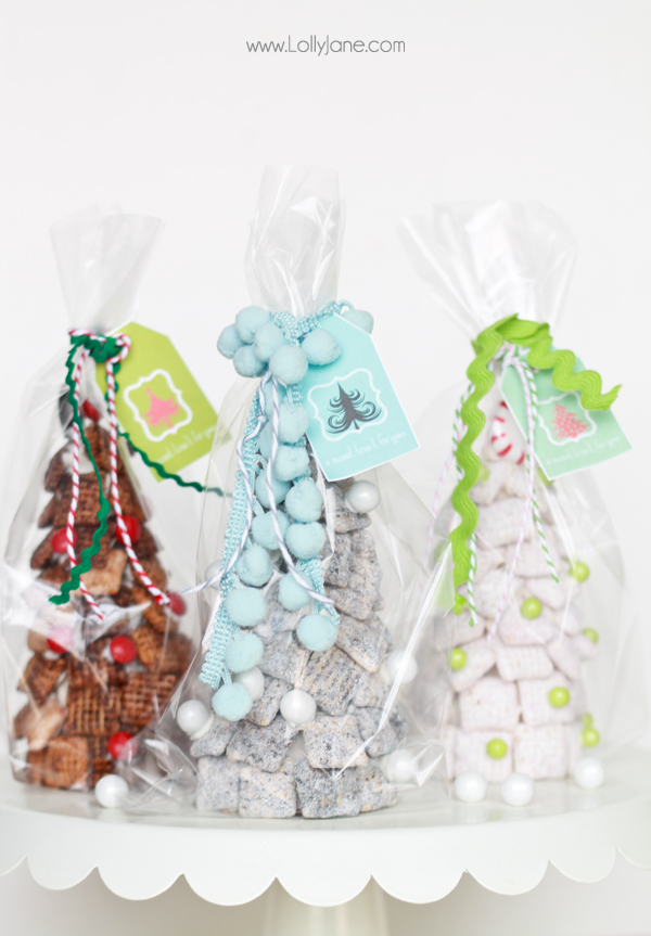 Chex Mix Trees, perfect for holiday parties + FREE treat tags!