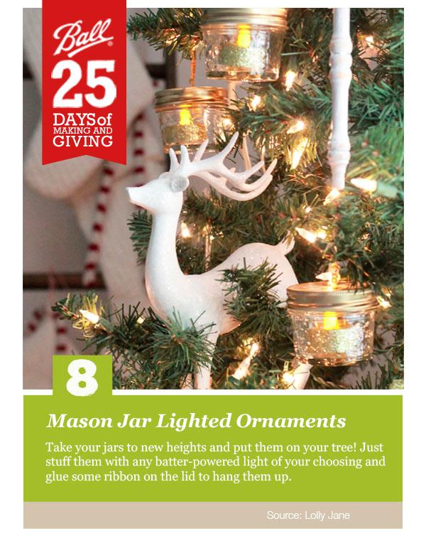 Mason Jar Lighted Ornament. Perfect handmade Christmas gift!