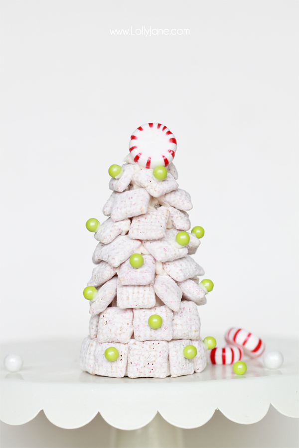 Peppermint Chex Mix Holiday Trees, perfect for entertaining!