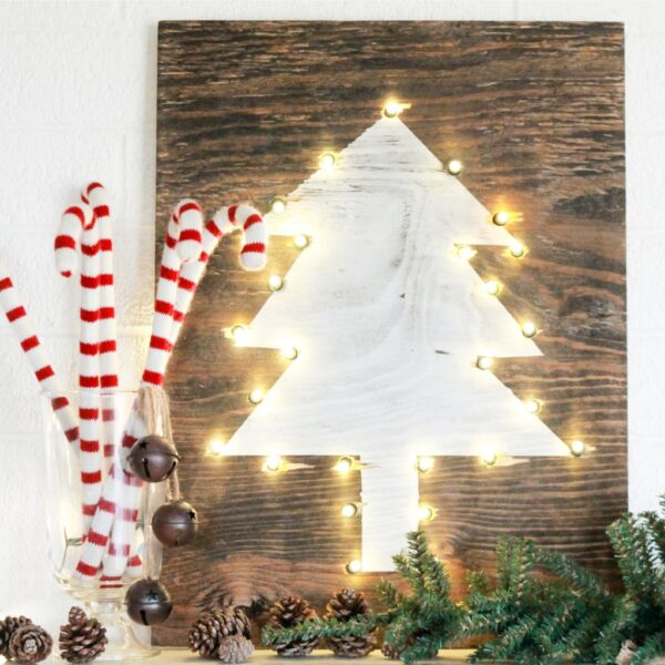Rustic DIY Marquee Christmas holiday tree sign