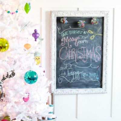 colorful white Christmas tree decor