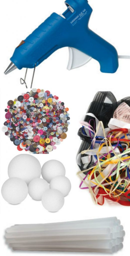 Supplies to make a cute diy button ornament!