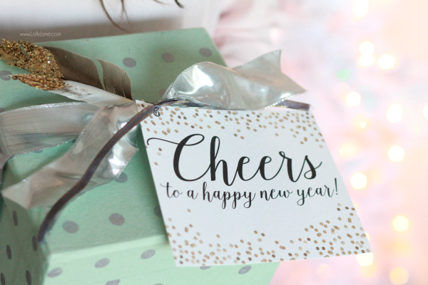 """NEW YEARS: Party in a box, great neighbor gift idea! PLUS """"Cheers to a happy new year"""" free printable tag!"""