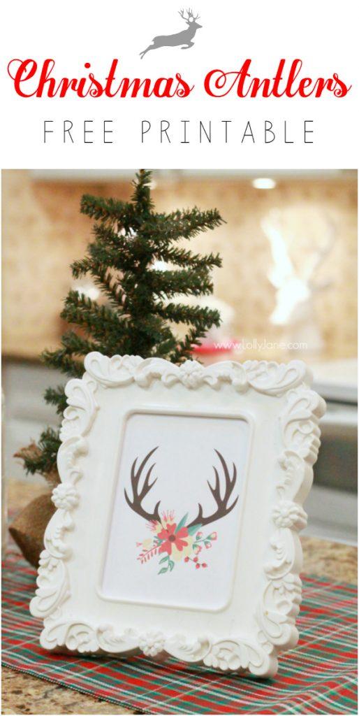 FREE Christmas antler print | Click through for Christmas kitchen decor ideas!