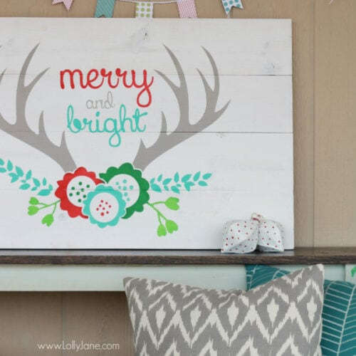 DIY | Easy way to build Merry and Bright antler Christmas pallet art using new wood, very cost effective for a huge sign! www.lollyjane.com